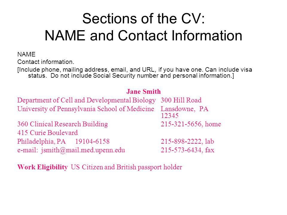Parts of the CV: ADDITIONAL INFORMATION and REFERENCES ADDITIONAL INFORMATION [This optional section can include miscellaneous information that might be of interest, such as community activities, knowledge of foreign languages, or interests.