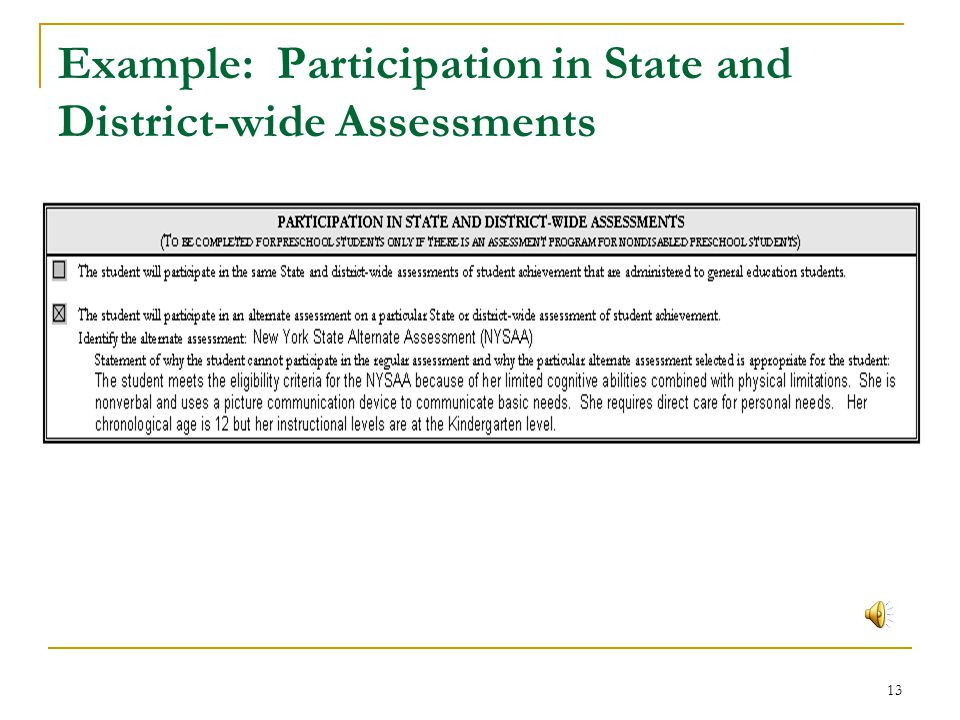12 Participation in State and District-wide Assessments Same State and district-wide assessments, or Alternate assessment on a particular State or dis