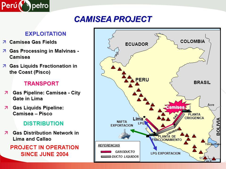 CAMISEA PROJECT CAMISEA PROJECT ECUADOR COLOMBIA BRASIL BOLIVIA CHILE Lima PERU Acre Titicaca Lake REFERENCIAS GASODUCTO DUCTO LIQUIDOS PLANTA CRIOGENICA PLANTA DE FRACCIONAMIENTO GAS LIQUIDOS Camisea NAFTAEXPORTACION LPG EXPORTACION LPG EXPLOITATION äCamisea Gas Fields äGas Processing in Malvinas - Camisea äGas Liquids Fractionation in the Coast (Pisco) äGas Pipeline: Camisea - City Gate in Lima äGas Liquids Pipeline: Camisea – Pisco DISTRIBUTION äGas Distribution Network in Lima and Callao TRANSPORT PROJECT IN OPERATION SINCE JUNE 2004