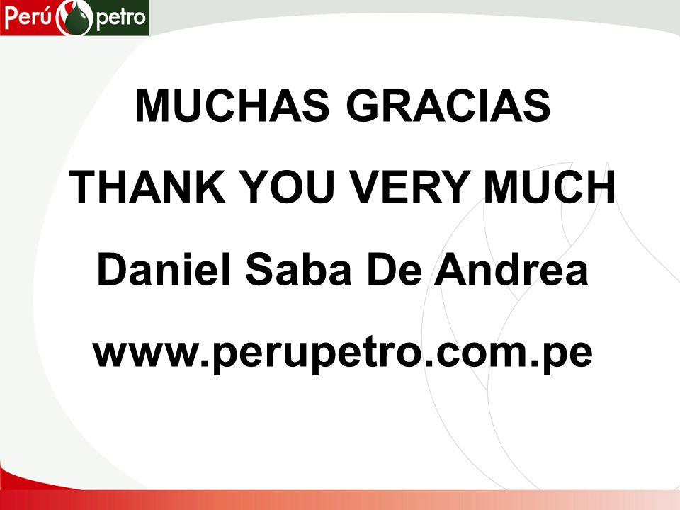 MUCHAS GRACIAS THANK YOU VERY MUCH Daniel Saba De Andrea www.perupetro.com.pe