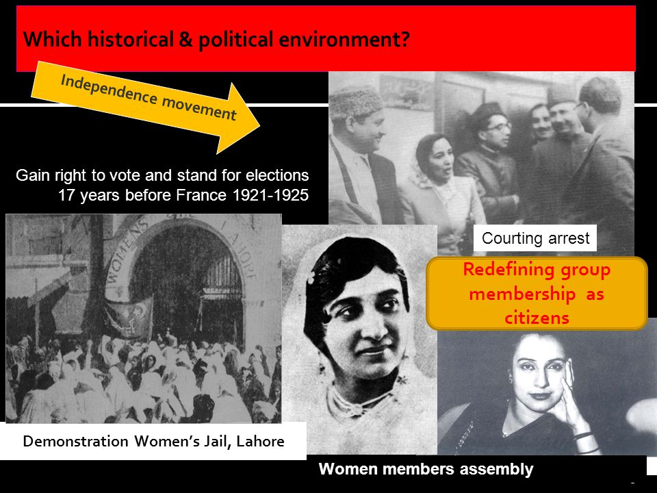 6 Gain right to vote and stand for elections 17 years before France 1921-1925 Demonstration Womens Jail, Lahore Women members assembly Independence movement Courting arrest Redefining group membership as citizens