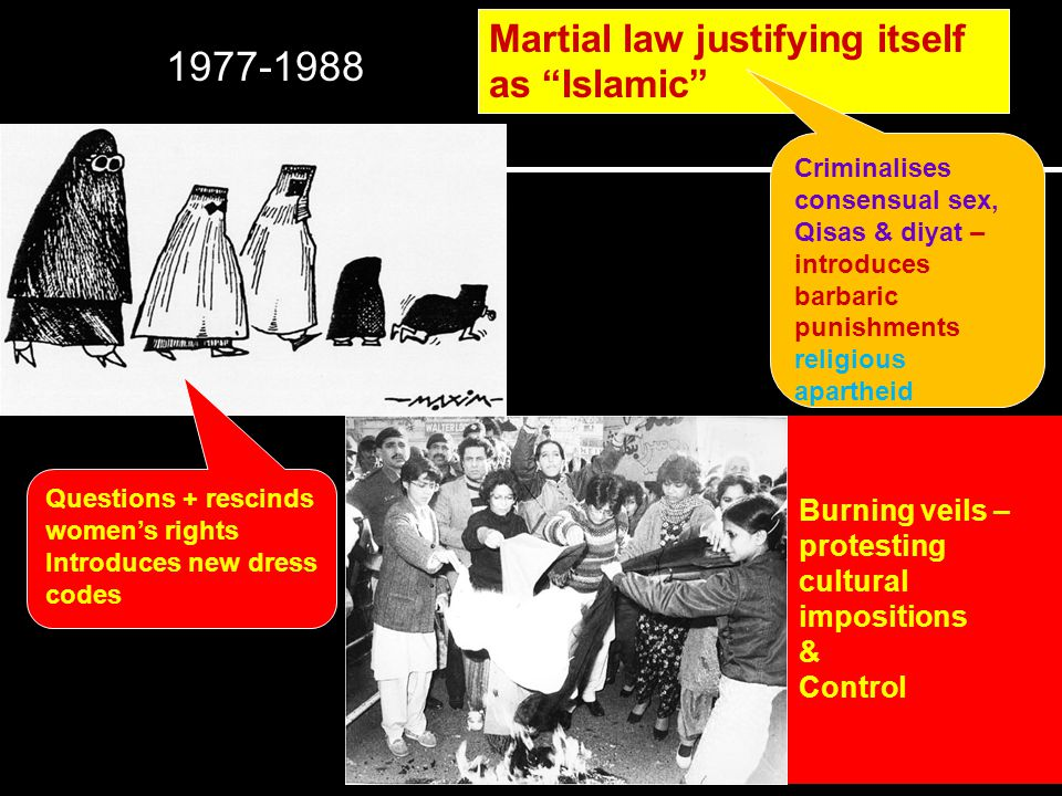 7 Martial law justifying itself as Islamic Criminalises consensual sex, Qisas & diyat – introduces barbaric punishments religious apartheid Questions + rescinds womens rights Introduces new dress codes Burning veils – protesting cultural impositions & Control 1977-1988