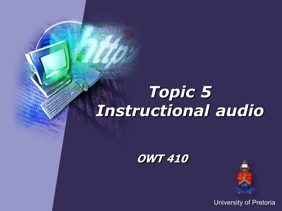 Instructional audio Digital audio Definition of podcast Type of podcast Steps for creating audio podcasts Tools for creating audio podcasts Text-to-speech Using podcasts in education