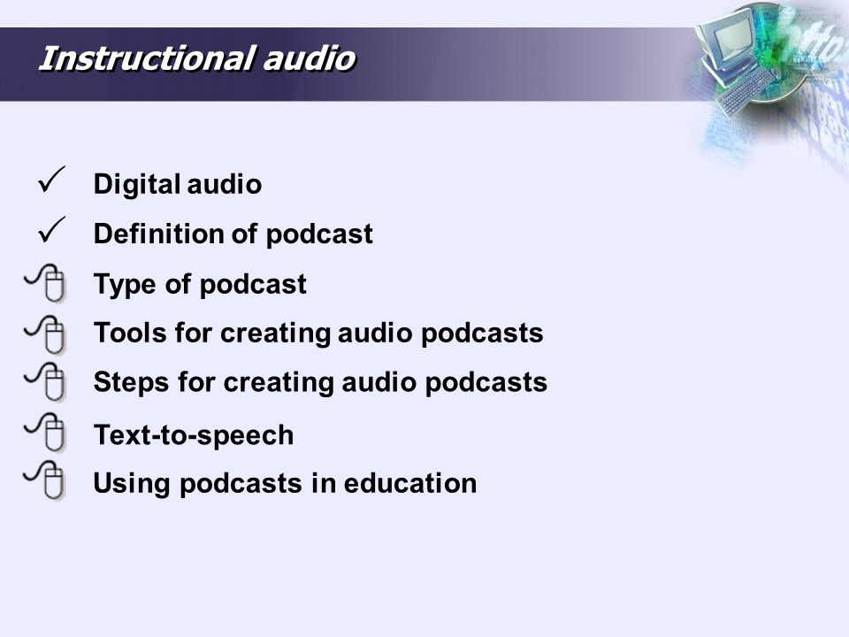 Types of podcast There are essentially four types of podcast, namely: Audio podcast: The term used for the online delivery of audio content.