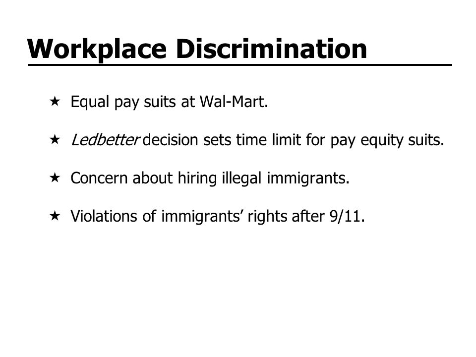 Workplace Discrimination Equal pay suits at Wal-Mart.