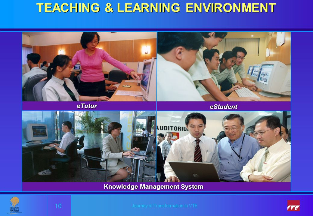 Journey of Transformation in VTE TEACHING & LEARNING ENVIRONMENT 10 eTutor Knowledge Management System eStudent