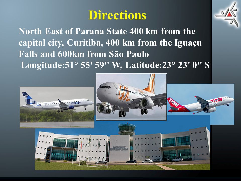 North East of Parana State 400 km from the capital city, Curitiba, 400 km from the Iguaçu Falls and 600km from São Paulo Longitude:51° W, Latitude:23° 23 0 S Directions