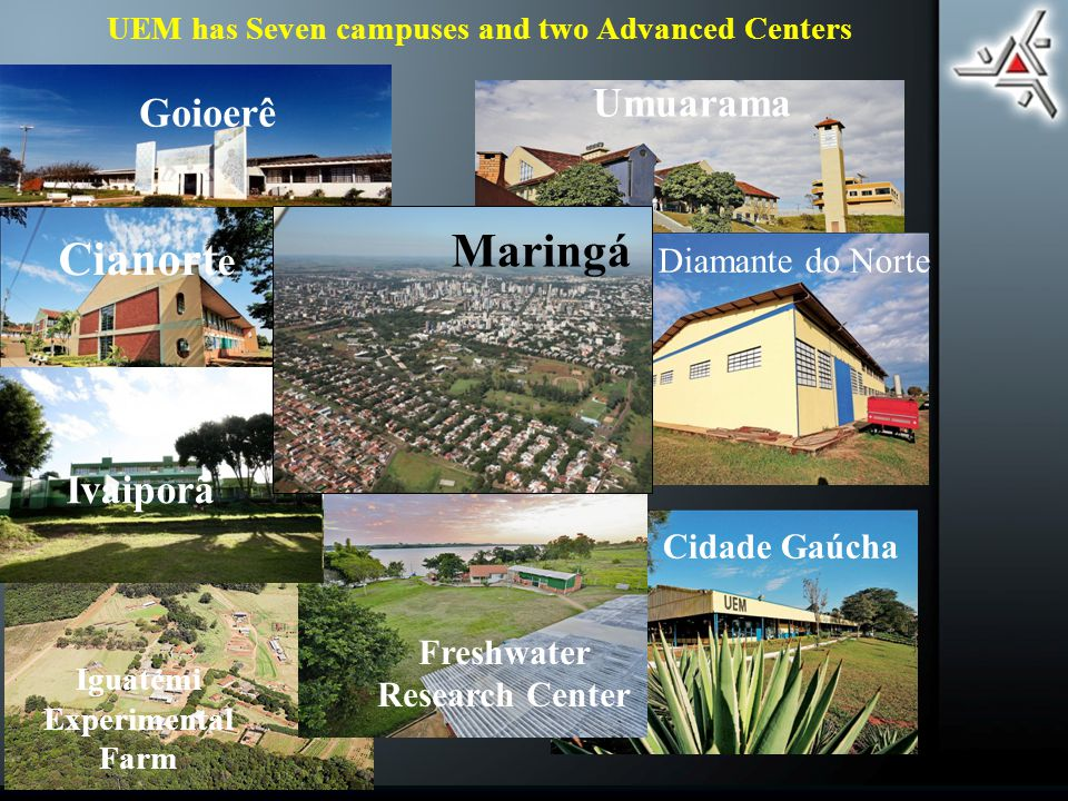 UEM has Seven campuses and two Advanced Centers Goioerê Umuarama Iguatemi Experimental Farm Cianort e Cidade Gaúcha Diamante do Norte Freshwater Research Center Ivaiporã Maringá