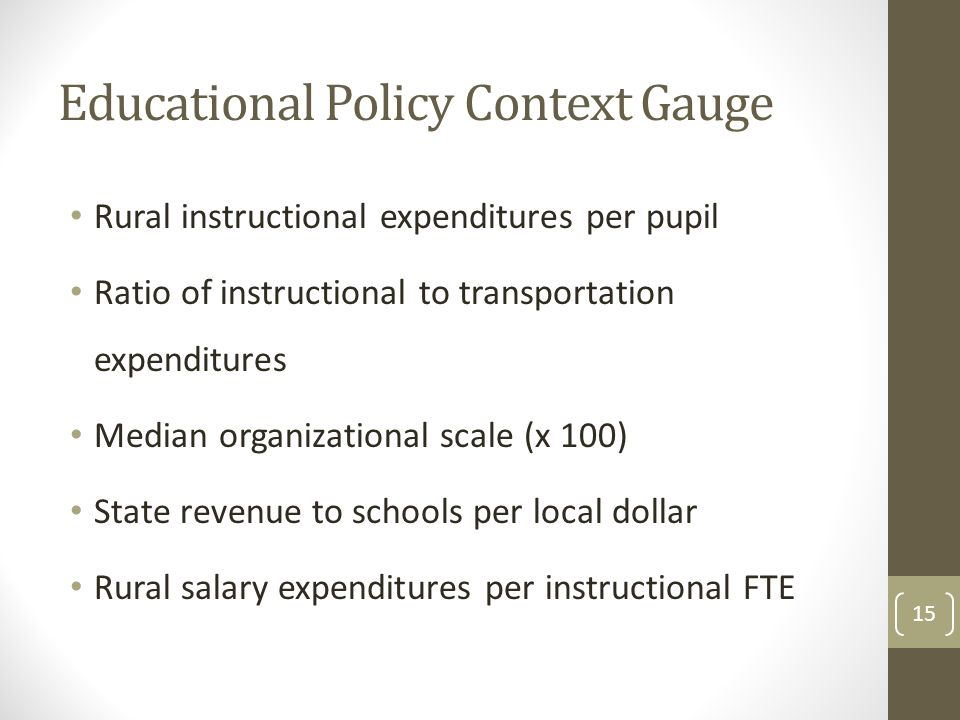 Educational Policy Context Gauge Rural instructional expenditures per pupil Ratio of instructional to transportation expenditures Median organizational scale (x 100) State revenue to schools per local dollar Rural salary expenditures per instructional FTE 15