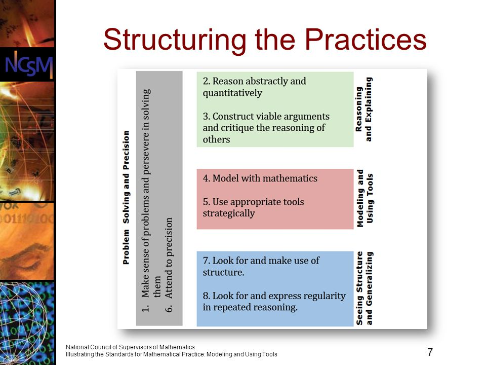 7 National Council of Supervisors of Mathematics Illustrating the Standards for Mathematical Practice: Modeling and Using Tools Structuring the Practices