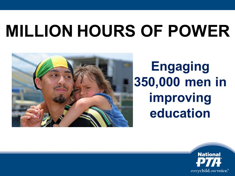 Engaging 350,000 men in improving education MILLION HOURS OF POWER