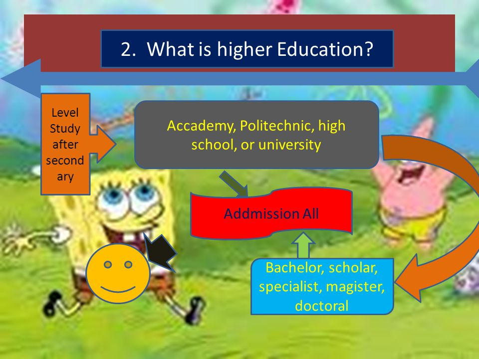 2. What is higher Education? Level Study after second ary Accademy, Politechnic, high school, or university Addmission All Bachelor, scholar, speciali