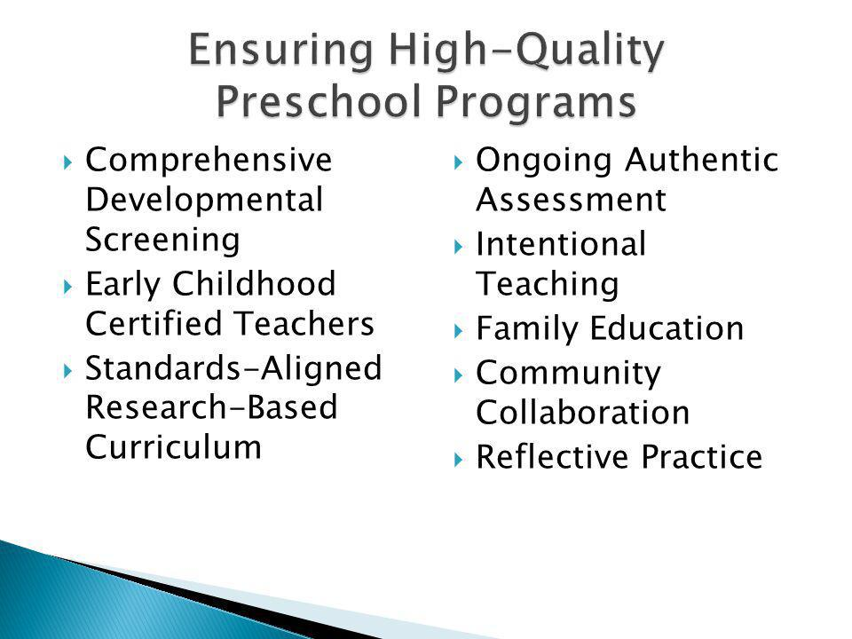Comprehensive Developmental Screening Early Childhood Certified Teachers Standards-Aligned Research-Based Curriculum Ongoing Authentic Assessment Intentional Teaching Family Education Community Collaboration Reflective Practice