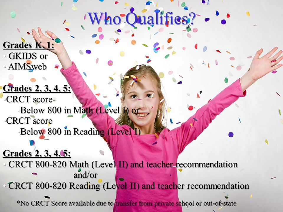 Who Qualifies? Grades K, 1: GKIDS or GKIDS or AIMSweb AIMSweb Grades 2, 3, 4, 5: CRCT score-CRCT score- Below 800 in Math (Level I) orBelow 800 in Mat