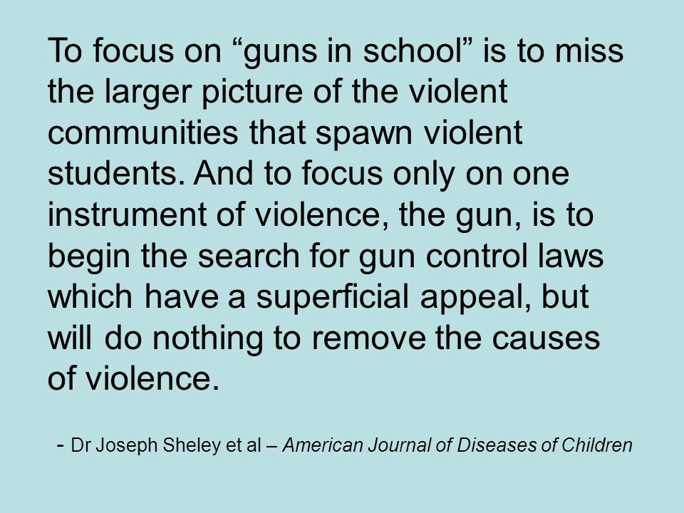 To focus on guns in school is to miss the larger picture of the violent communities that spawn violent students. And to focus only on one instrument o
