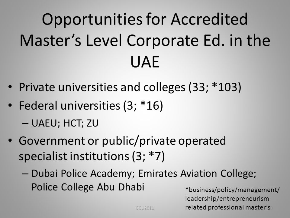 Opportunities for Accredited Masters Level Corporate Ed.