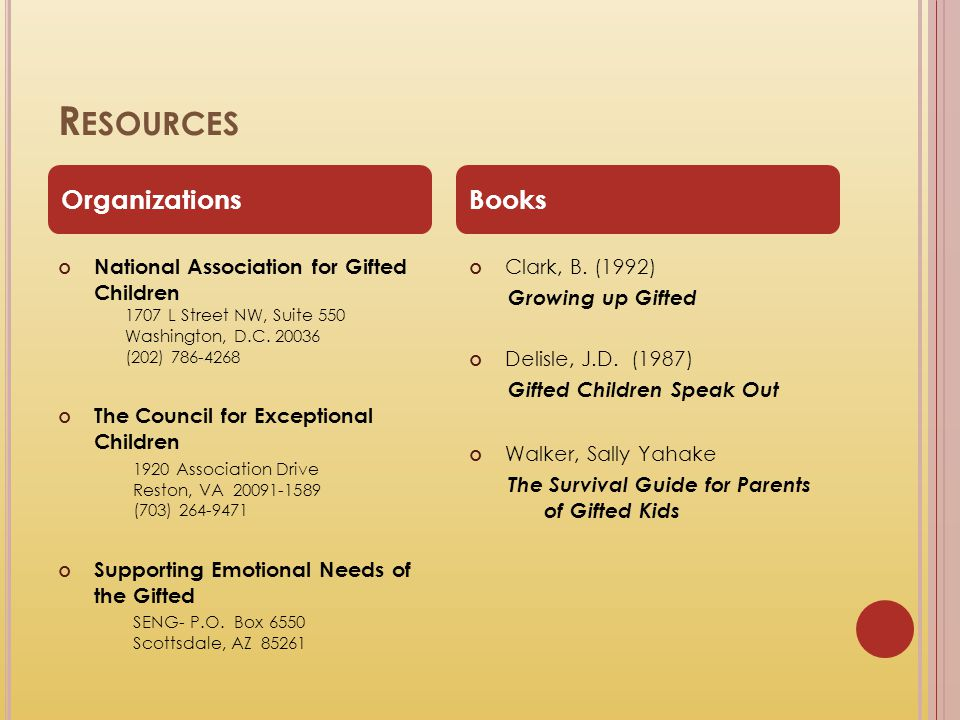 R ESOURCES National Association for Gifted Children 1707 L Street NW, Suite 550 Washington, D.C. 20036 (202) 786-4268 The Council for Exceptional Chil