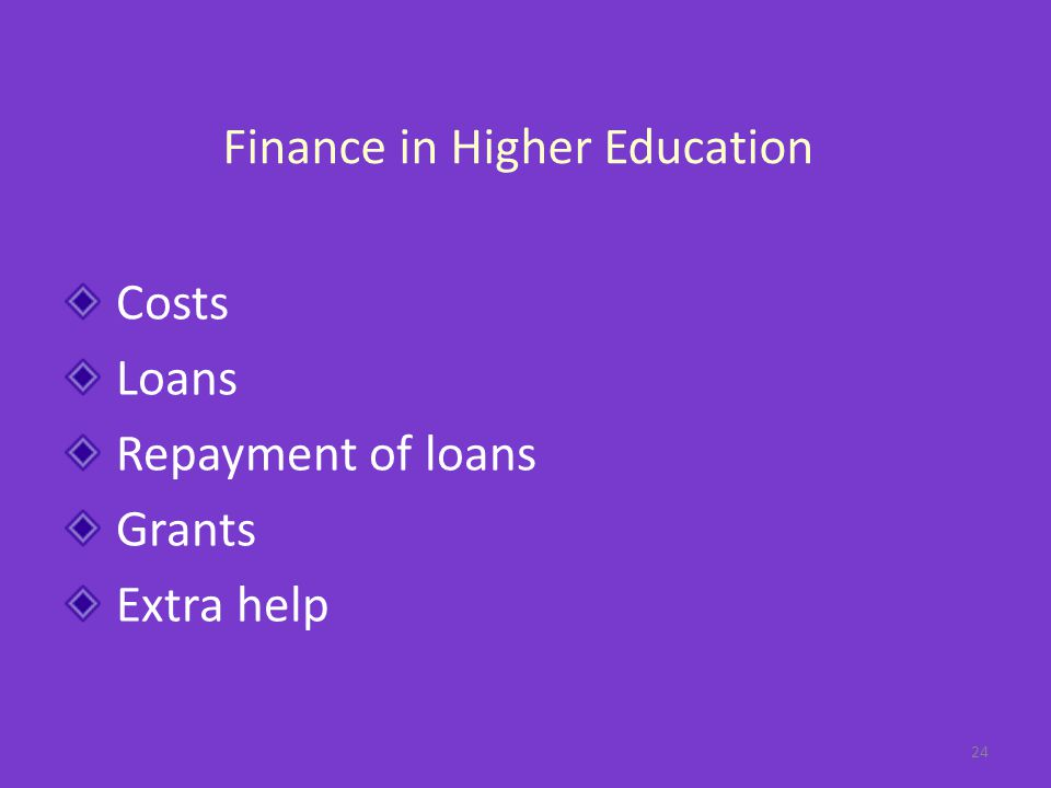 Finance in Higher Education Costs Loans Repayment of loans Grants Extra help 24