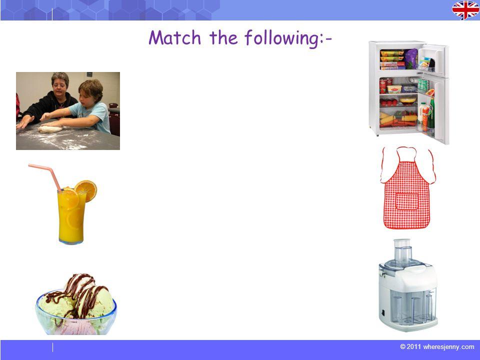© 2011 wheresjenny.com Match the following:-