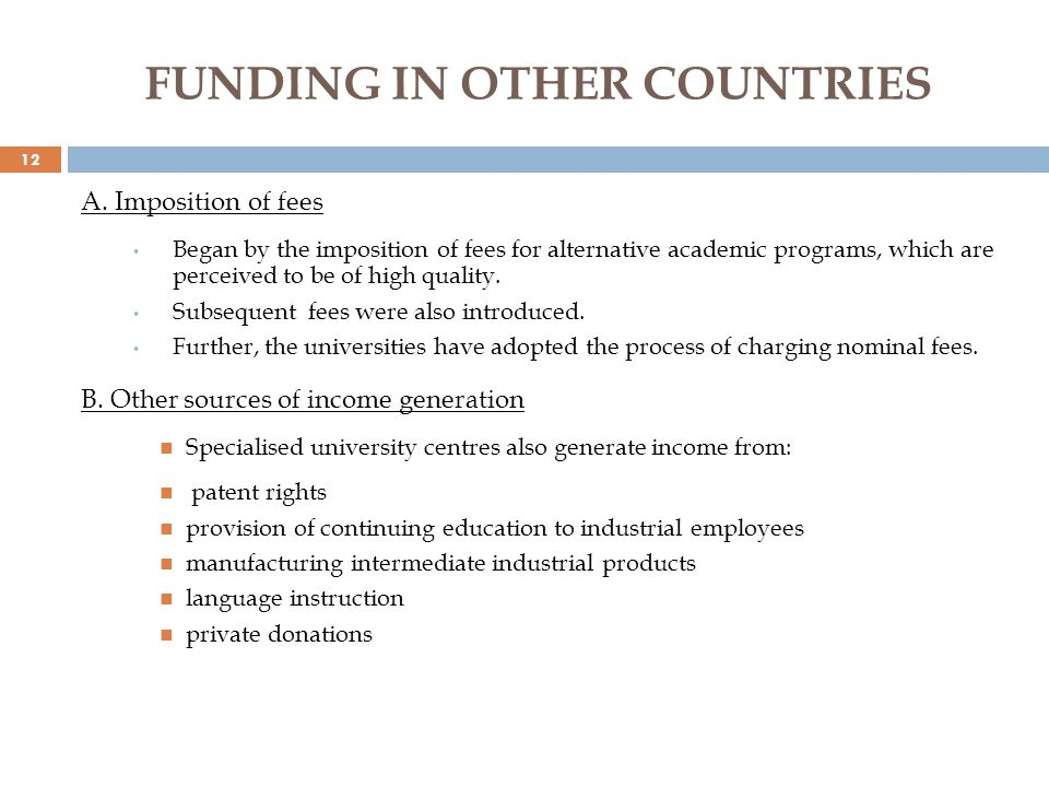 FUNDING IN OTHER COUNTRIES A.