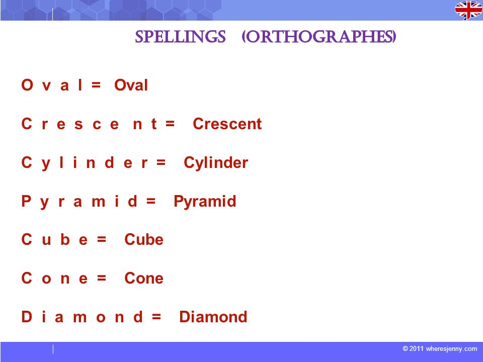© 2011 wheresjenny.com O v a l = Oval C r e s c e n t = Crescent C y l i n d e r = Cylinder P y r a m i d = Pyramid C u b e = Cube C o n e = Cone D i