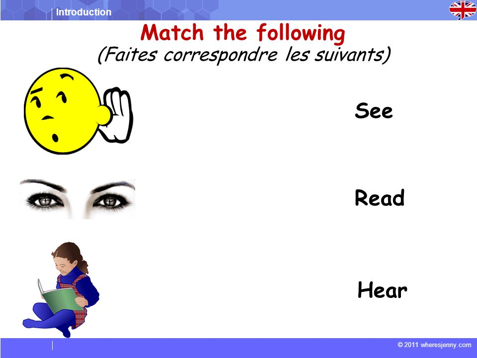 Introduction © 2011 wheresjenny.com Match the following (Faites correspondre les suivants) See Read Hear