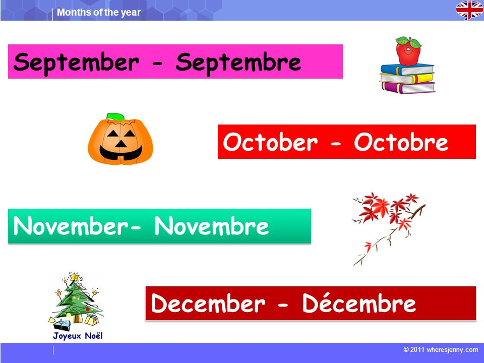 Months of the year © 2011 wheresjenny.com Match the following (Faites correspondre les suivants) Juin Mars Août Novembre Mai March November May August June 1.
