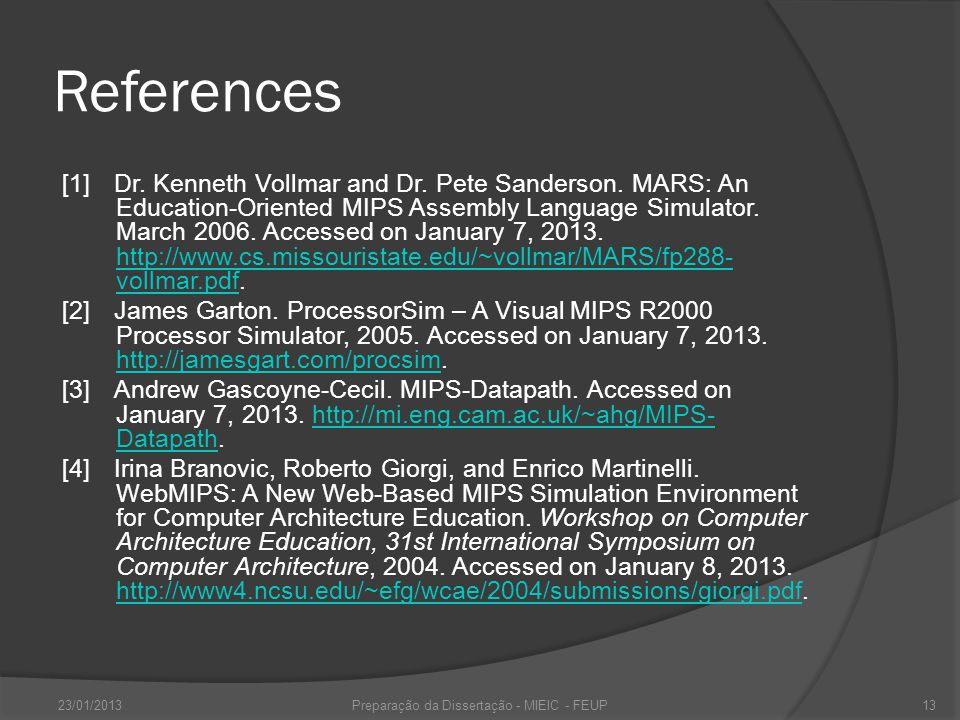 References [1]Dr. Kenneth Vollmar and Dr. Pete Sanderson.