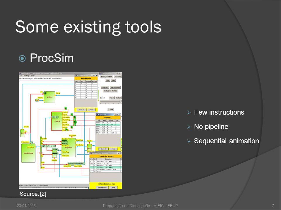 Some existing tools MIPS-Datapath 23/01/2013Preparação da Dissertação - MIEIC - FEUP8 Source: [3] Few instructions Bad state visualization Lim.