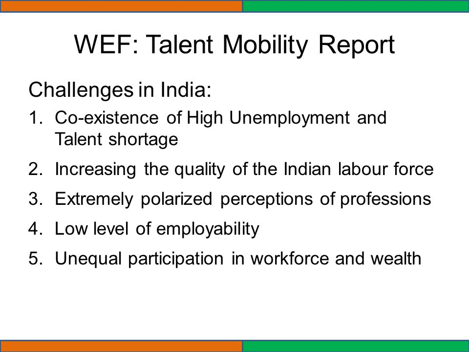 WEF: Talent Mobility Report Challenges in India: 1.Co-existence of High Unemployment and Talent shortage 2.Increasing the quality of the Indian labour force 3.Extremely polarized perceptions of professions 4.Low level of employability 5.Unequal participation in workforce and wealth