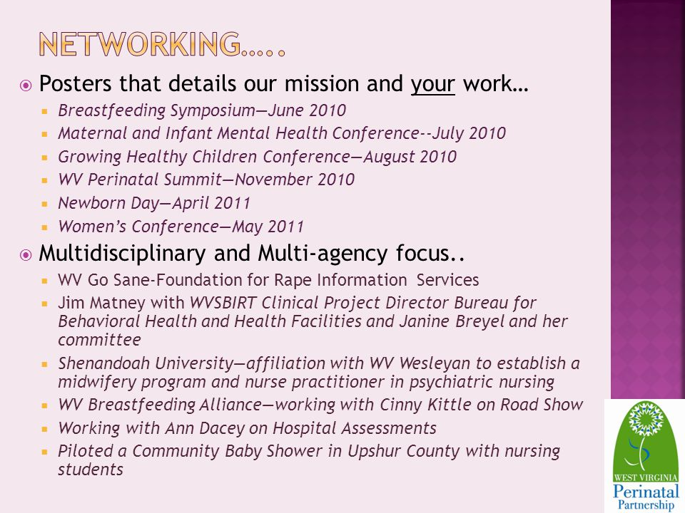 Posters that details our mission and your work… Breastfeeding SymposiumJune 2010 Maternal and Infant Mental Health Conference--July 2010 Growing Healthy Children ConferenceAugust 2010 WV Perinatal SummitNovember 2010 Newborn DayApril 2011 Womens ConferenceMay 2011 Multidisciplinary and Multi-agency focus..