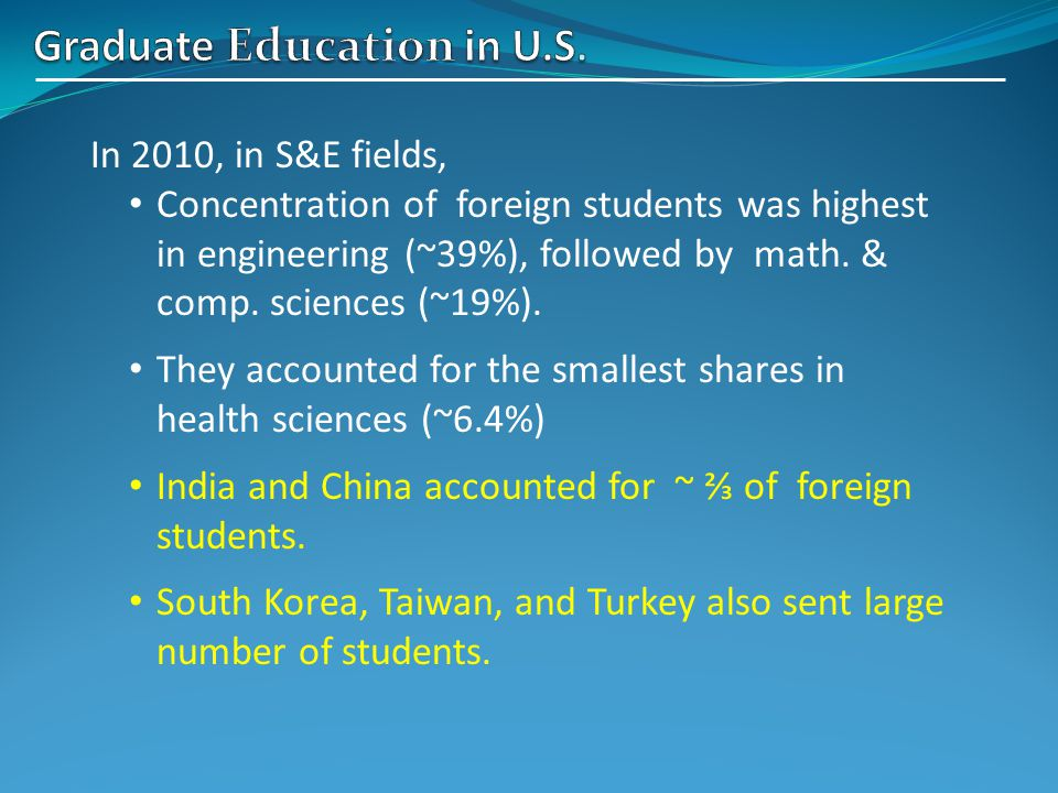 In 2010, in S&E fields, Concentration of foreign students was highest in engineering (~39%), followed by math.