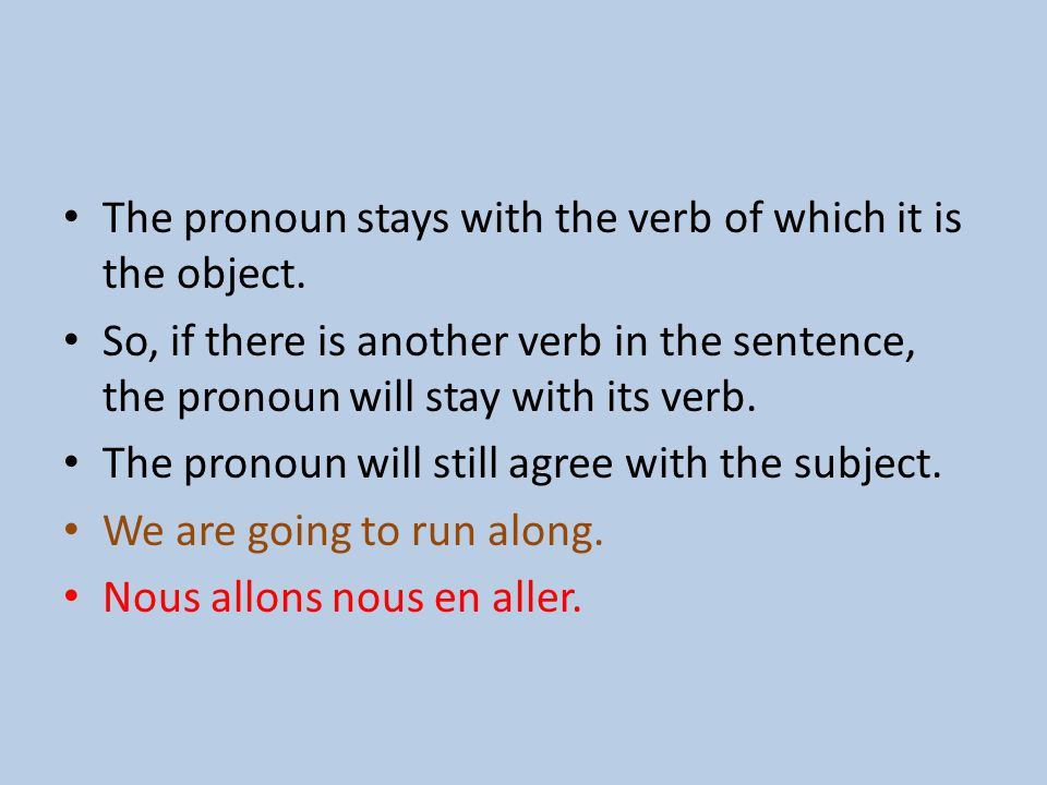 The pronoun stays with the verb of which it is the object.