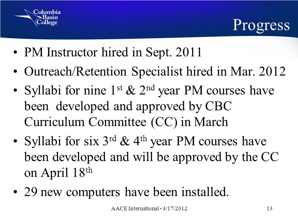 Progress PM Instructor hired in Sept. 2011 Outreach/Retention Specialist hired in Mar.