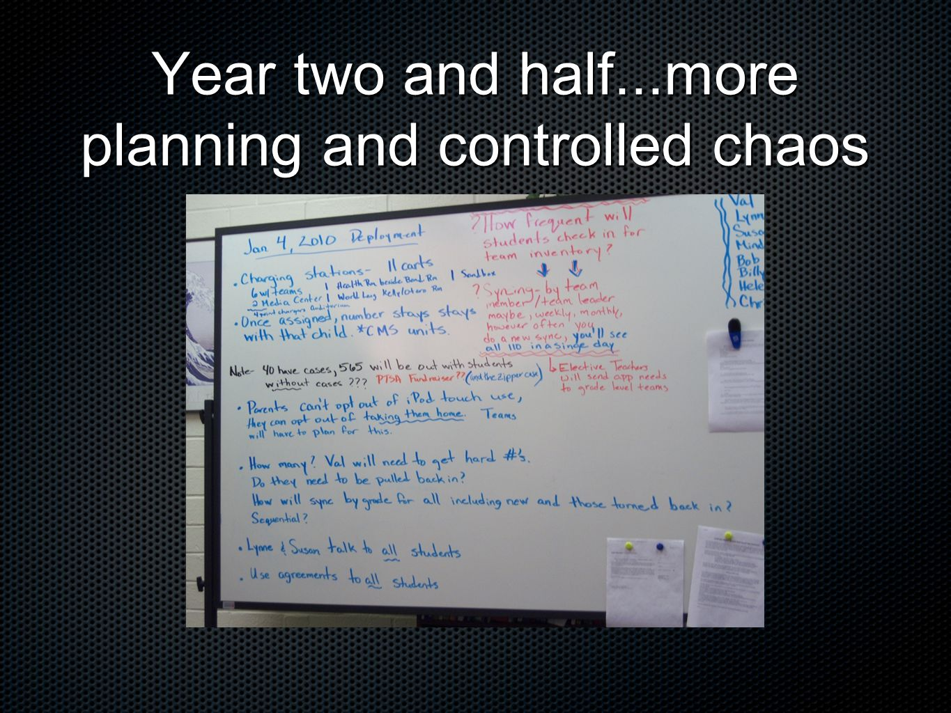 Year two and half...more planning and controlled chaos