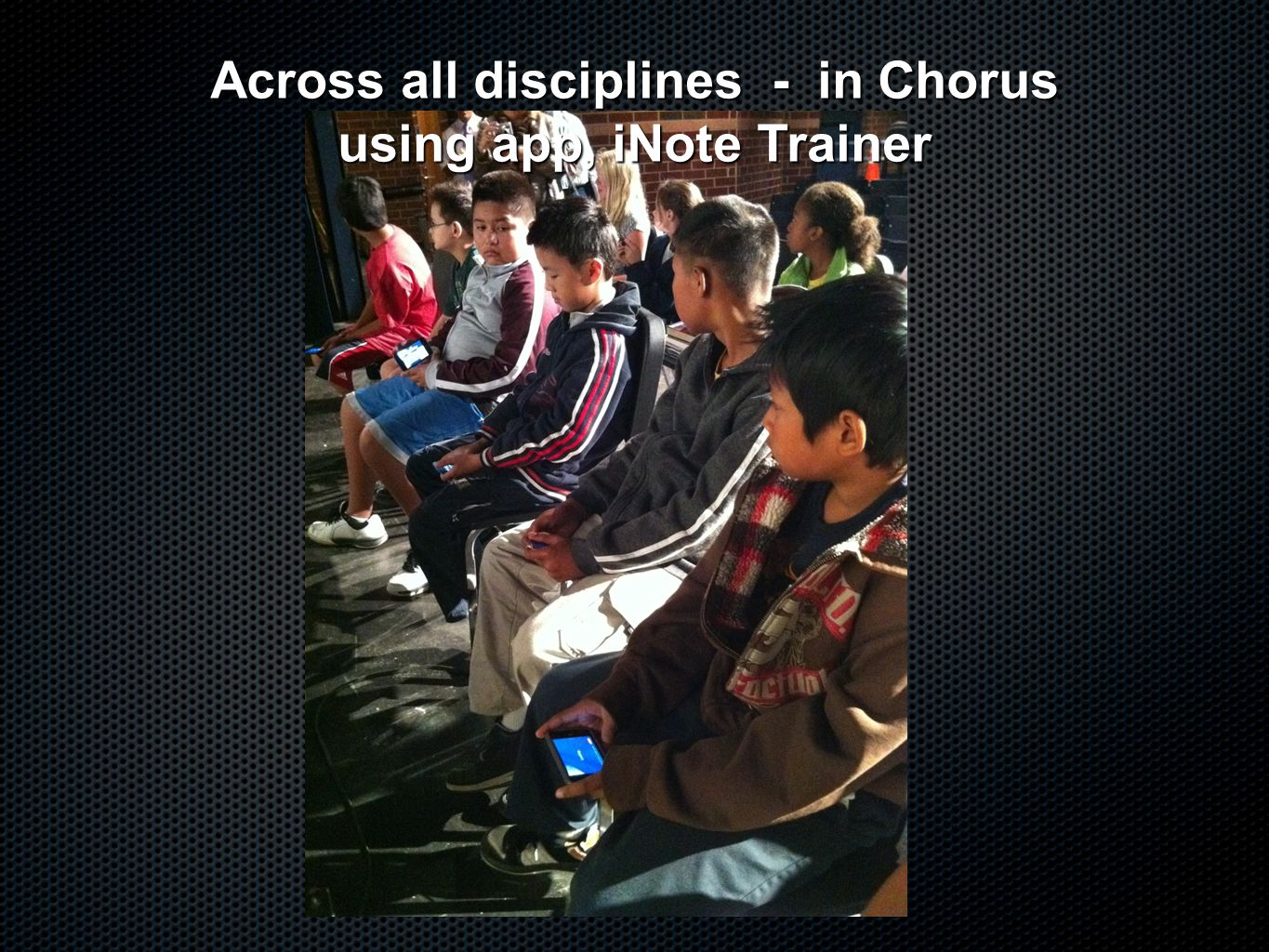 Across all disciplines - in Chorus using app, iNote Trainer