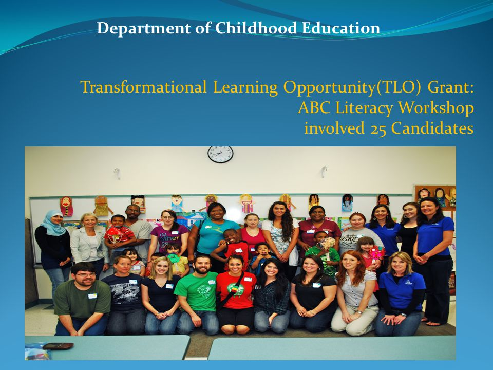 Transformational Learning Opportunity(TLO) Grant: ABC Literacy Workshop involved 25 Candidates Department of Childhood Education
