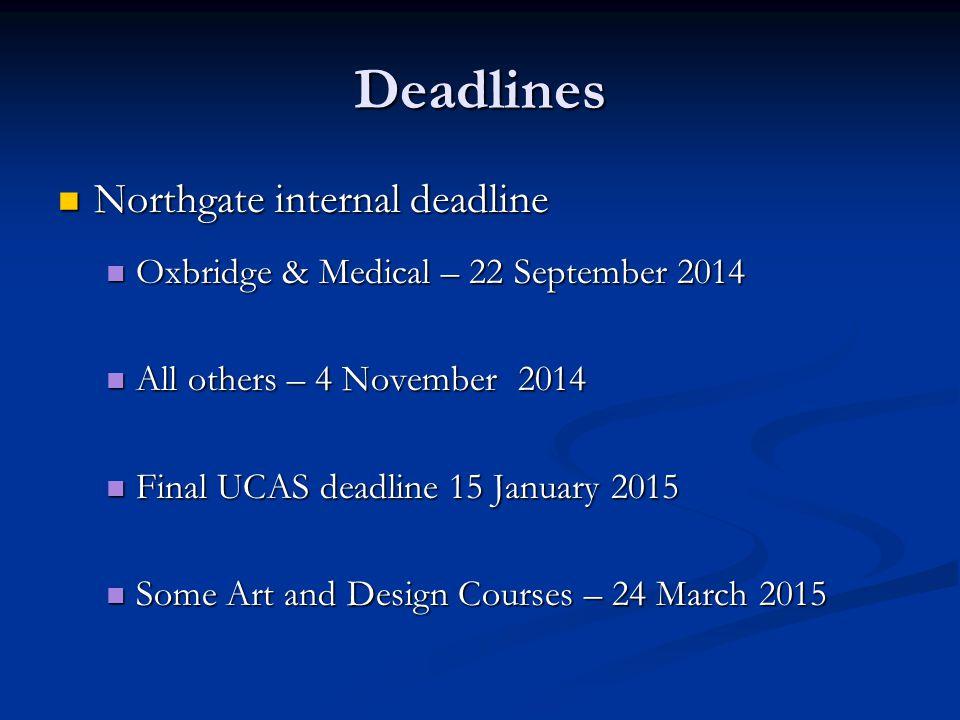 Deadlines Northgate internal deadline Northgate internal deadline Oxbridge & Medical – 22 September 2014 Oxbridge & Medical – 22 September 2014 All ot