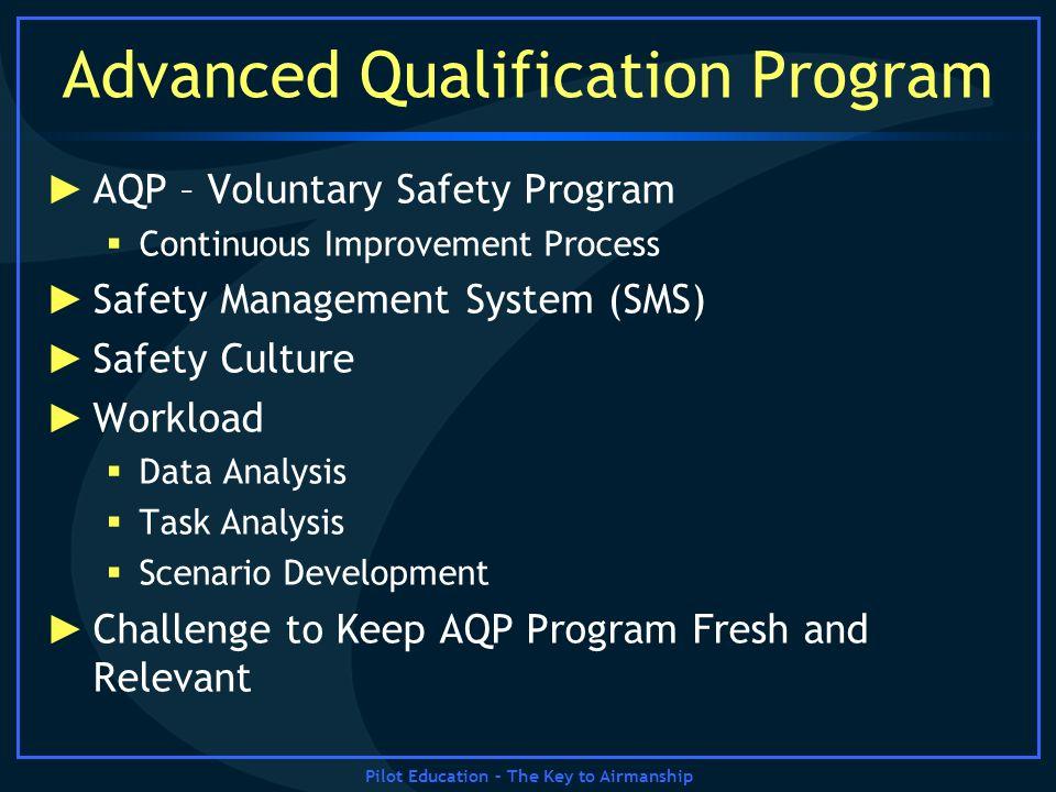 Pilot Education – The Key to Airmanship Advanced Qualification Program AQP – Voluntary Safety Program Continuous Improvement Process Safety Management