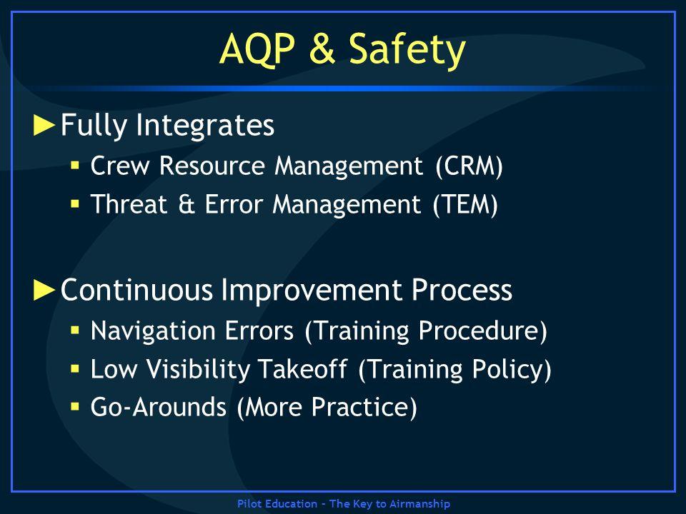 Pilot Education – The Key to Airmanship AQP & Safety Fully Integrates Crew Resource Management (CRM) Threat & Error Management (TEM) Continuous Improv