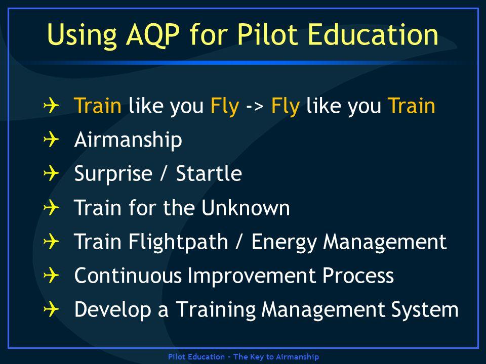 Pilot Education – The Key to Airmanship Using AQP for Pilot Education Train like you Fly -> Fly like you Train Airmanship Surprise / Startle Train for