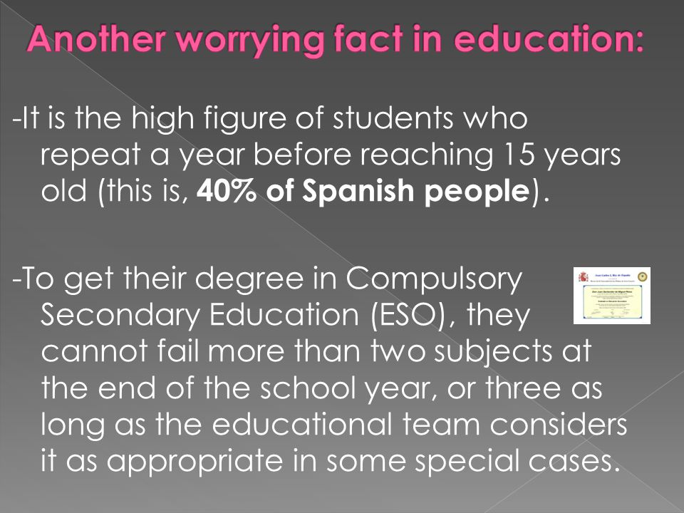 -It is the high figure of students who repeat a year before reaching 15 years old (this is, 40% of Spanish people ).