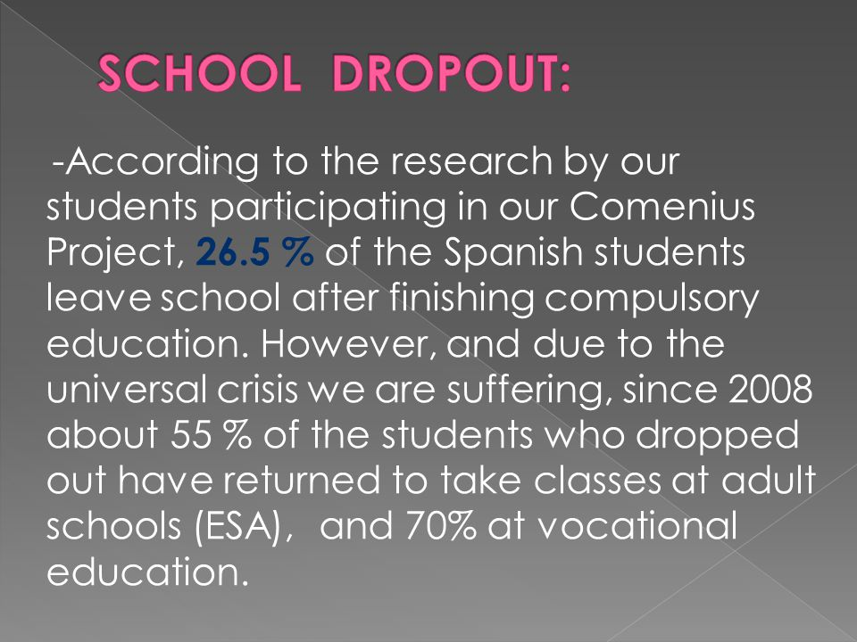 -According to the research by our students participating in our Comenius Project, 26.5 % of the Spanish students leave school after finishing compulsory education.