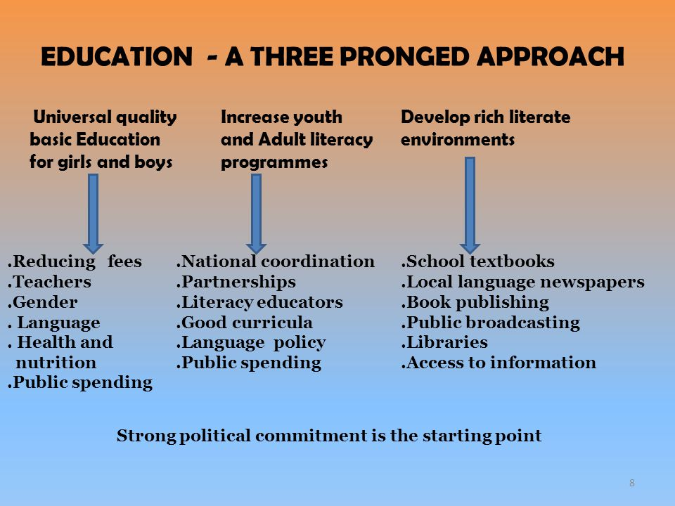 Recommendations 9 The inclusive education triangle Three broad sets of policies which can combat illiteracy The learning environment Accessibility and affordability Entitlements and opportunities