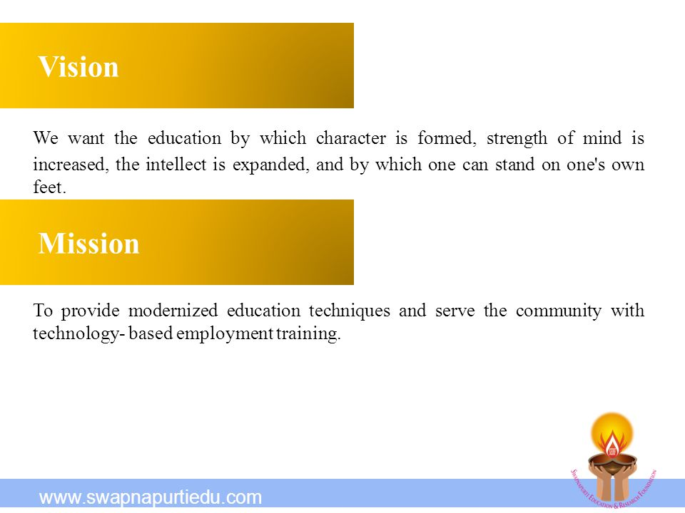 It deals with the 3 Es To provide the underprivileged with need-based & un-discriminated E ducation To develop the Self Study Skills, creativity, communication skills, lateral thinking, etc and to apply latest technology in teaching with the aim of preparing students with need based E mployment training.
