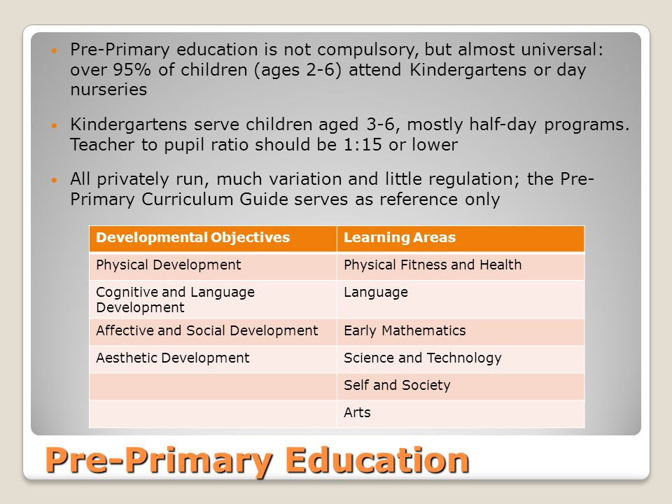 Pre-Primary Education Pre-Primary education is not compulsory, but almost universal: over 95% of children (ages 2-6) attend Kindergartens or day nurse