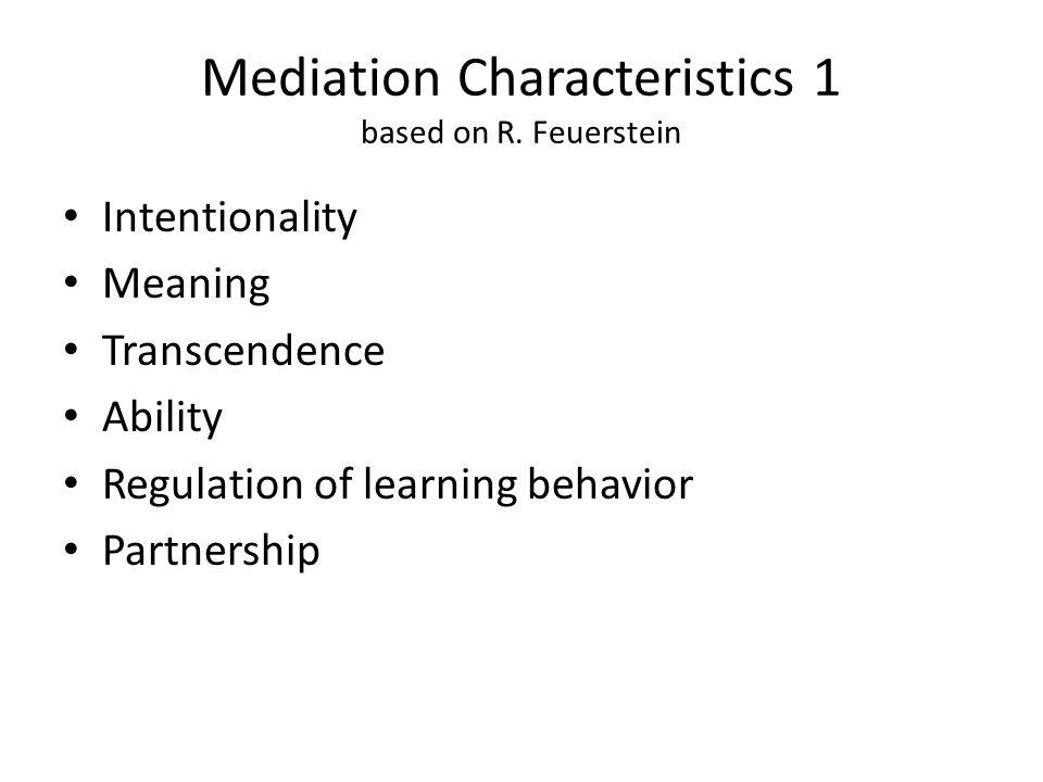 Mediation Characteristics 1 based on R.
