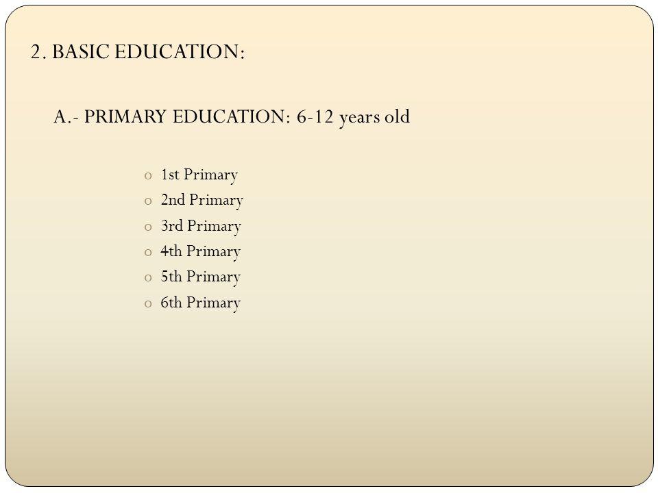 2. BASIC EDUCATION: B.- Secondary Education: o1st E.S.O. o2nd E.S.O. o3rd E.S.O. o4th E.S.O.