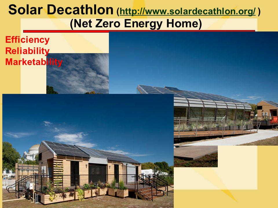 Solar Decathlon (http://www.solardecathlon.org/ ) (Net Zero Energy Home)http://www.solardecathlon.org/ Efficiency Reliability Marketability