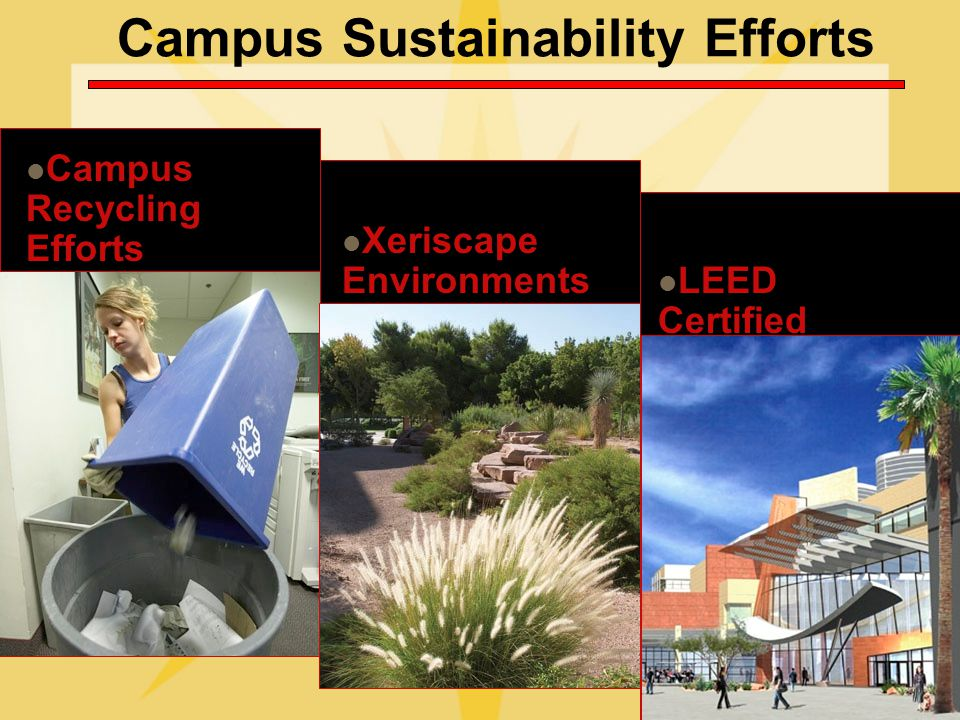 Campus Sustainability Efforts Campus Recycling Efforts Xeriscape Environments LEED Certified Facilities